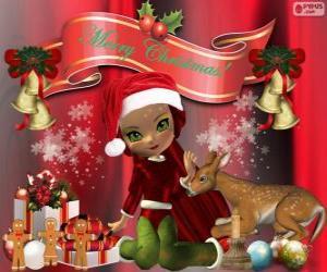 Układanka Elf gratulacji Boże Narodzenie