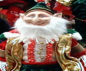 Układanka Elf Narodzenia z spiczastych uszach i kapelusz pointy