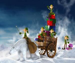 Układanka Elfy pomagają Santa Claus dostarczyć prezenty świąteczne