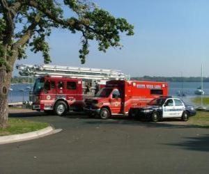 Układanka Emergency Vehicles Fire, Pogotowie i Policja