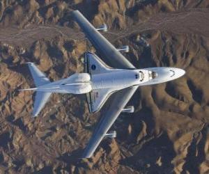 Układanka Endevor Space Shuttle prowadzonej 747