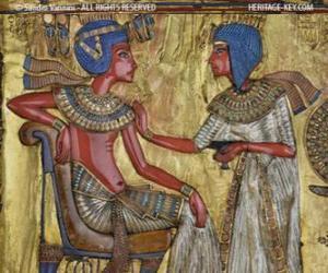 Układanka Faraona siedzącego na tronie z nejej berło, w formie biczem w ręku