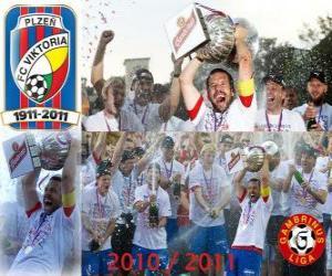 Układanka FC Viktoria Plzen, mistrz Czech Soccer League, Gambrinus Liga 2010-2011