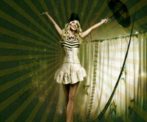 Układanka Fil de fériste lub funambule z dziewczyną w stroju baletnicy i stożek hat chodzenia na linie