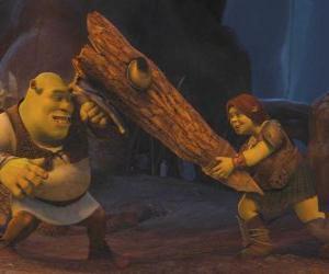 Układanka Fiona, wojownik, wraz ze Shrekiem
