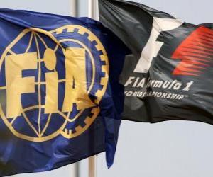 Układanka Flagi Międzynarodowej Federacji samochodowe