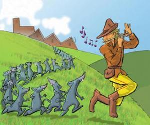 Układanka Flecista z Hameln gra na flecie po szczurów
