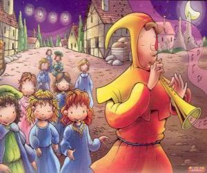 Układanka Flecista z Hameln tajemniczo wszystkie dzieci z miasta za dźwięk na flecie