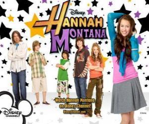 """Układanka Główne postacie z Hannah Montana Miley Ray Stewart, Lillian """"Lilly"""" Truscott, Oliver Oken, Rod Stewart Jackson, Robby Ray Stewart i Rico Suave"""