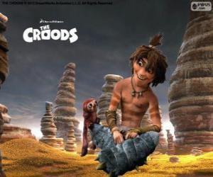 Układanka Gaj, dowcipny nastolatek który pokazuje nowy świat do Croods rodziny