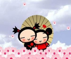 Układanka Garu i Pucca pod parasolem