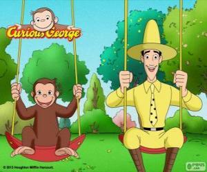Układanka George małpa ze swoim przyjacielem Ted, mężczyzna w żółtym kapeluszu