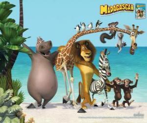 Układanka Gloria Hippo, żyrafa Melman, lew Alex, zebra Marty z innymi bohaterami przygody