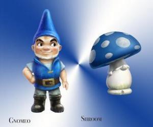 Układanka Gnomeo jest przystojny i dumny Blue Garden Gnome, wraz z jego lojalny i wierny towarzysz tynk Mushroom Shroom