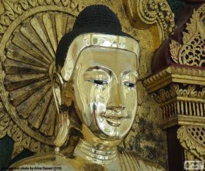 Układanka Golden Buddha głowy