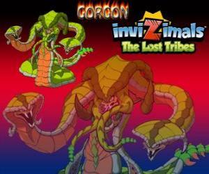 Układanka Gorgon. Invizimals Zaginione Plemiona. Legendarny Monster, wydajne węża z trzech głowy