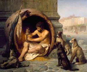 Układanka Grecki filozof Diogenes Sinope, w jego baryłkę, na ulicach Aten