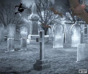 Układanka Groby na cmentarzu, Halloween