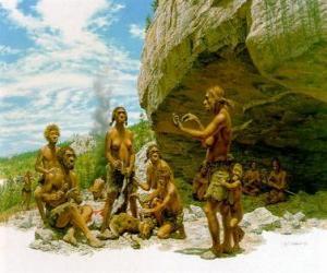 Układanka Grupa mężczyzn neandertalczyka pod ochroną schronisko rock, osób realizacji różnych działań: kamienie chartting, przygotowujących się do polowania