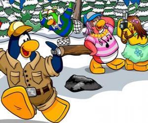 Układanka Grupa Pingwiny Włączanie dzień na zewnątrz korzystających śniegu