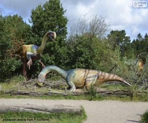 Układanka Grupa trzech dinozaurów w krajobraz