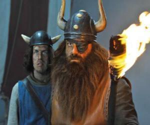 Układanka Halvar, ojciec Vicky i przywódca wikingów w miejscowości Flake ze swoją poprawkę oka