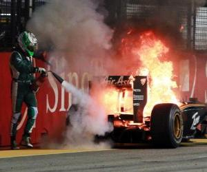 Układanka Heikki Kovalainen - Lotus - Singapore 2010