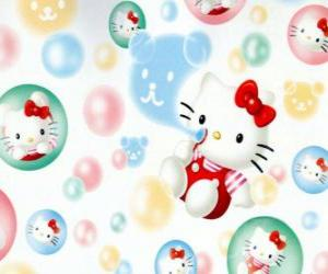 Układanka Hello Kitty gry dmuchać bańki mydlane