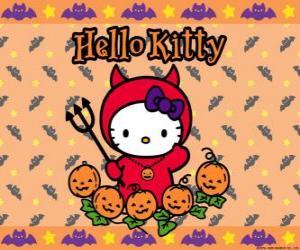 Układanka Hello Kitty ubrany na Halloween