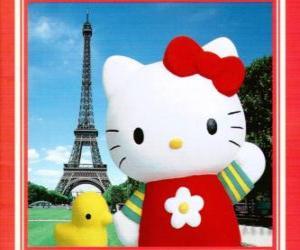 Układanka Hello Kitty z birdie i Wieżą Eiffla w tle