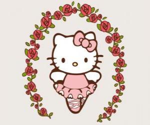 Układanka Hello Kitty z kwiatami