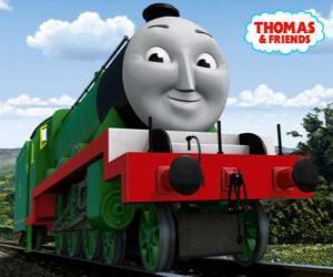 Układanka Henry, długie i szybkie liczba zielona lokomotywa 3