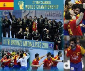 Układanka Hiszpania brązowy medal na 2011 świata w piłce ręcznej