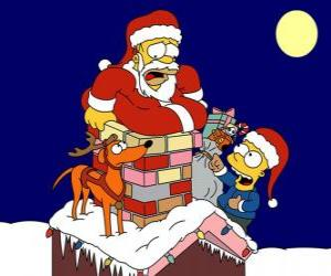 Układanka Homer i Bart Simpson pomóc Santa Claus prezenty