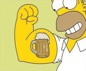 Układanka Homer Simpson dumny ze swojej siły