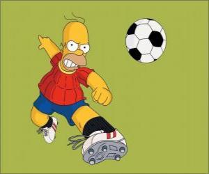 Układanka Homer Simpson gry w piłkę nożną