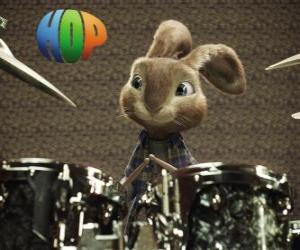 Układanka Hop królik z podudzia tworzyć muzykę z zestawu perkusyjnego