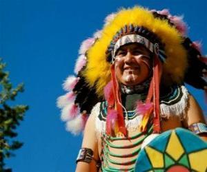 Układanka Indiańskiego wodza twarz farbami wojny i piór na głowie