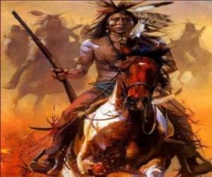 Układanka Indiańskiego wojownika jazda całej