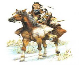 Układanka Indian Warrior jazdy przez