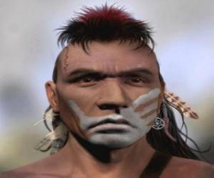 Układanka Indian Warrior z jego twarzy malowane