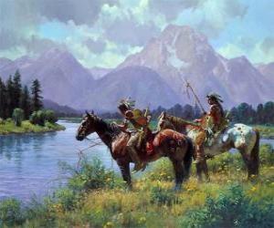 Układanka Indian wojowników na koniach