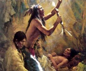 Układanka Indianie w tradycyjnych rytuałów, odwołując się do duchów