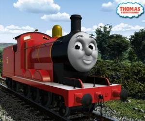 Układanka James, wspaniały numer lokomotywy 5 w kolorze czerwonym