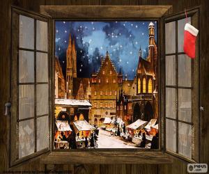 Układanka Jarmark bożonarodzeniowy, okna