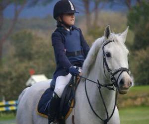 Układanka jazda kierowcy para, dziewczyna na koniu