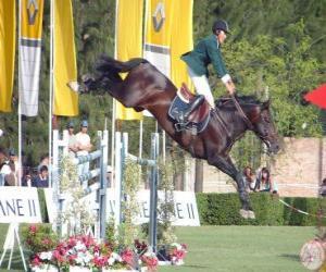 Układanka Jeździectwo - konia i jeźdźca w wykonywaniu skoków