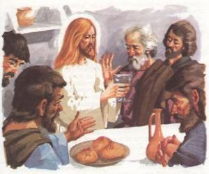 Układanka Jezus błogosławił chleb i wino podczas Ostatniej Wieczerzy