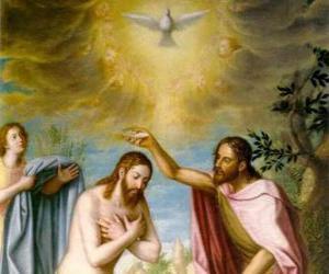 Układanka Jezus zostaje ochrzczony przez John the Baptist w rzece Jordan