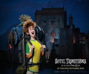 Układanka Jonathan, młody podróżnik, który przybywa do hotelu
